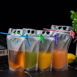 500 шт. / Лот 500/700 мл Сумка для напитков одноразовый ледяной напиток сумки смузи Сумки с соломиной дыру одноразовый сок мешочек оптом