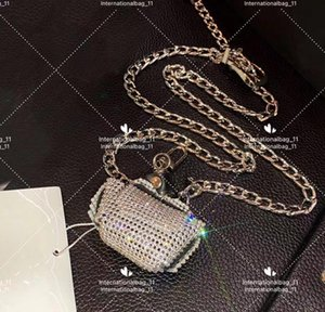 2021 luxury designer evening bag all diamond vintage coarse ore white steel chain small change purse fashion party Hollow Out Wristlet