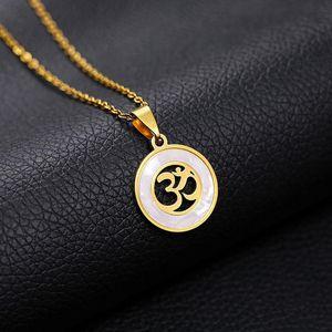 Круглый кулон CZ Круг Ожерелья Индуистская индуистская буддийская AUM OM Ожерелье Женщины Мужчины Ювелирные Изделия Счастливчик Мир Символ Choker