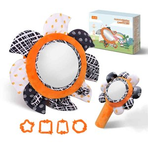Tumama Early Educational Rearview Mirror Baby Seat Plush Sun Flower Rattl Set Crib Mobile Hanging Toys
