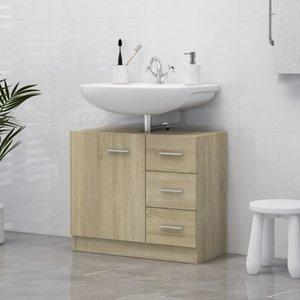 Sink Cabinet Sonoma Oak 63x30x54 cm Chipboard