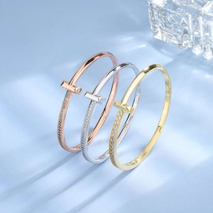 High-quality luxury goods T family's narrow Bracelet female star the same double T1 half with rose gold clasp and diamond ring No original box