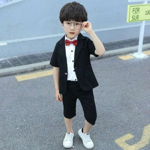 Flower Boys Formal Suits Summer 2pcs Short Sleeve Blazer+Shorts Children Kids Wedding Birthday Dress Clothing Set 93 Z2
