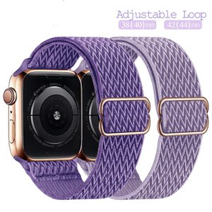 Adjustable Braided Solo Loop For Apple watch band strap 44mm 40mm 38 42mm Fabric Nylon Elastic Belt Iwatch series 6 5 4 3