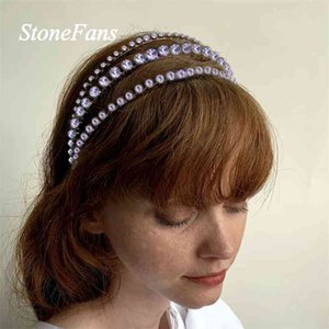 Stonefans Three Layers Big Rhinestone Hair Band Hoop Jewelry Accessories Handmade Crystal Crown Headband Bridal Wedding Tiara