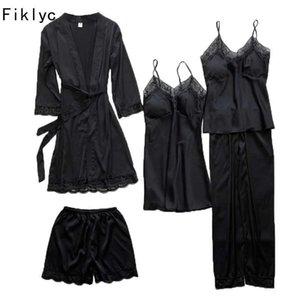 Fiklyc 5pc Pijamas de mujer conjuntos con ropa interior acolchada ropa interior ahuecada hacia fuera conjuntos de lencería conjuntos de lencería envío de ropa de dormir Salón Q0706