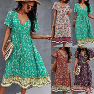 2021 Sexy Printed Summer Maxi Dress Deep V Neck Short Sleeve Vintage Vestido Beach Boho Casual Clothes Long Women Dresses