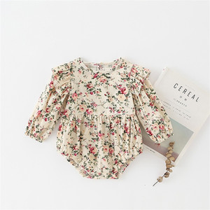 Sweet Newborn Infant Baby Girls Floral Ruffles Long Sleeve Romper Kids One-Piece Cotton Tops Jumpsuit Clothes Outfits Clothing 146 Q2