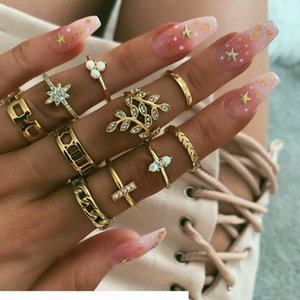 Vintage Crystal Leaf Knuckle Rings for Women Boho Geometric Flower Moon Crystal Ring Set Bohemian Midi Finger Jewelry Bague Femme