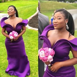 Regent Purple Bridesmaid Dresses For Wedding 2022 Spring Summer Off Shoulder Satin Plus Size Maid Of Honor Gowns African Evening Dress M141