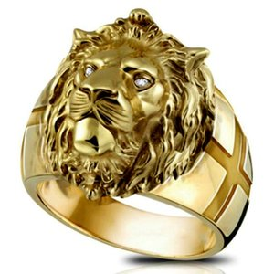 Golden Lion Head Ring Stainless Steel Cool Boy Band Party Lion Ring Domineering Men's Golden Lion Head Ring Unisex Jewelry