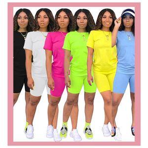 Neon Green Biker Brokts Pant Top Cousssuit Лето Повседневная Спортивная одежда 2 Часть Наборы Плюс Размер Настройки Соответствующим Установите женщин Одежда