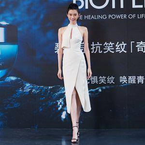 Super Model Xi Mengyao Star con marca de moda tailandesa Celebrity Temperamento del cuello colgante del hombro 2A89