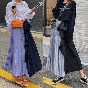 Skirts Fashion Women Girls Two-Color Pleated Long Skirt Ladies Casual Ruffle High Waist Elastic Flared