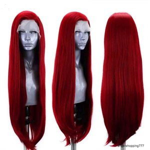 Synthetic wig for women with mesh split, long straight hair, red wine color, no glue, natural hairline