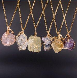 Mens womens Natural stone necklace Irregular Winding Crystal Quartz Healing Point Chakra Bead Gemstone Necklaces Women Men Pendant Original Stones Jewelry