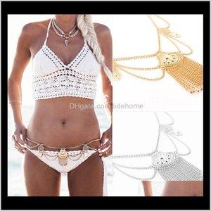Bauchketten Drop Lieferung 2021 Böhmische ethnische Taille Sexy Quaste Bikini Kette Münzen Aussage Für Frauen Boho Türkisch Körper Schmuck LJHMF