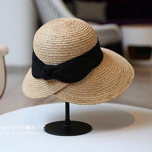 Hepburn's Elegant Bowknot Summer Female Sun Hats Leisure Foldable Sunshade Raffia Straw Casual Glacier Hat Beach Holiday Wide Brim