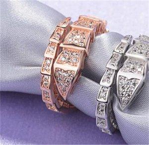 Mode Serpenti Serie Diamant Ring Frauen 925 Sterling Silber Schmale Schlangenöffnung Einstellbare Smart Ringe 972 V2