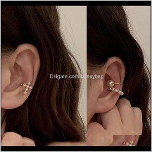 Clip-On & Screw Back Earrings Jewelryghidbk Boho Circle Clips Women Dainty Fake Pearl Cross Clip On Earring Set Minimalist Summer Ear Cuffs N