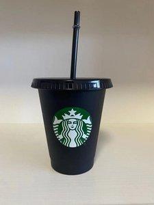 Starbucks Mermaid Goddess 16oz 473ml Plastic Mugs Tumbler Reusable Black Drinking Flat Bottom Pillar Shape Lid Straw Cups