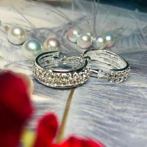 Earings Fashion Jewelry 2021 Round Earrings For Women Earring Korean Ear Rings Christmas Rhinestone Accessories Aretes De Mujer Hoop & Huggi