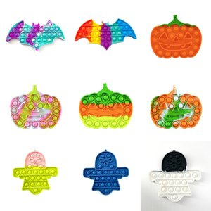 Halloween Pumpkin Decompression Fidget Toys Party Favor Ghost Stress Reliever Push Bubble Sensory Toy ZZA3349