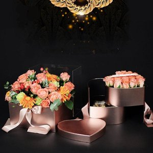 2021 Heart Shaped Double Layer Rotate Flower Chocolate Gift Box DIY Wedding Party Decor Valentine Day Flower Packaging Case DHL