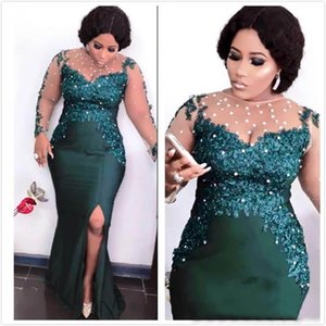 2021 Aso Ebi Arabic Dark Green Sexy Evening Dresses Beaded Mermaid Prom Dress Sheer Neck Lace Appliques Formal Party Gowns