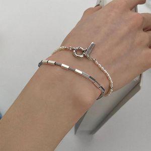 Charm Bracelets French Retro Metal Square Pearl Bracelet Female Classic Temperament Wild Fashion Banquet Birthday Gift