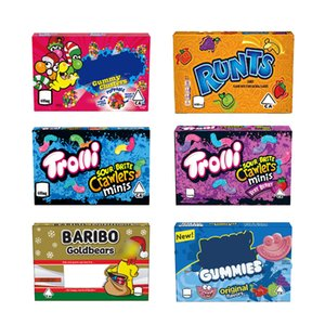 Stock Sale Trolli Crawlers Candy Box Bag Pack Baribo Runtz Gummy Box with Clear Mylar Bags medicated edibles packaging