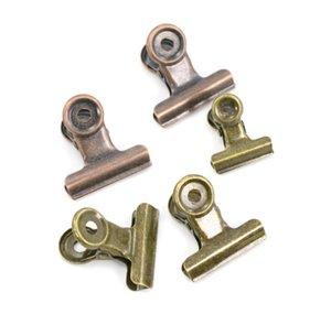 Accesorios de escritorio 4 Tamaño Retro Redondo Metal Grip Clips Bronce Bulldog Clip-Metal Papel Clip para etiquetas Bolsas Oficina al por mayor SN2837