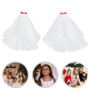 Bridal Veils 2Pcs Christmas Girls Veil Bow Hair Comb Ribbon Headpiece Xmas Holiday Gift
