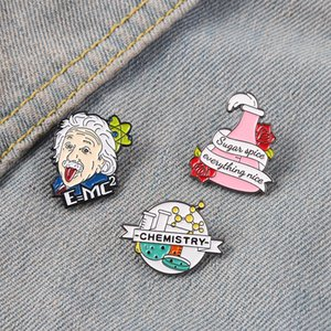 Chemistry Enamel Pins Famous Physicist Lapel Pin Formula Metal Brooches Men Women Jewelry Wholesale Gift for Physics Lover