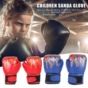 1 Pair Kids Children Boxing PU Leather Flame Gloves Sanda Boxing Training Glove ProfessionalKid Breathable Sparring mma Gloves