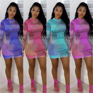 DROPSHIP Summer Long Sleeve Half Turtleneck Slim Mini Dress Fashion Multicolor Fusion Digital Printing Women Party Dresses 071401