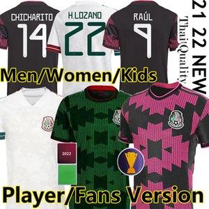 2021 México Futebol Jerseys Concacaf Gold Cup Camisetas 21 22 fãs Versão do jogador Chicharito Lozano dos Santos 2022 National Team Football Camisas Homens Mulheres Kit Kids
