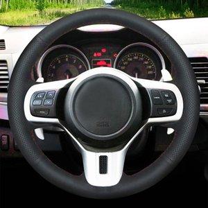 Hand-stitched Black Genuine Leather Car Steering Wheel Cover For Mitsubishi Lancer 10 EVO Evolution Outlander 2010