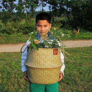 Домохозяйство складные натуральные морские скота тканые хранения корзины горшок сад цветок ваза висит плетеная корзина безарованные корзины 521 S2