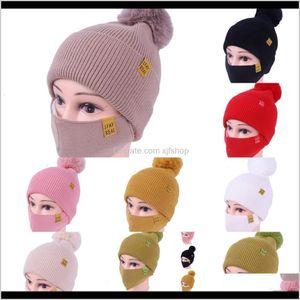 Womens Girls Knit Beanie Cap With Face Mask Set Soft Warm Lined Winter Ski Pompom Hat Outdoor 8 Col O7U1K Obl3C Caps Masks Vnyaz