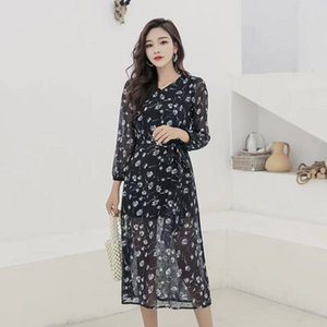 female spring and summer 2021 new gentle wind floral Skirt with long sleeve over knee dress