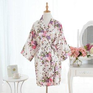 Kimono Robe Bathrobe Women Silk Satin Night Sexy Robes Grow For Bridesmaid Summer Plus Size One 40-70kg Women's Sleepwear
