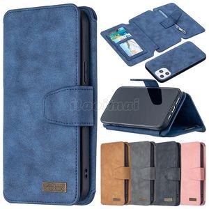 2in1 Capas de telefone da carteira para iPhone 12 11 Pro Max X XS XR Samsung Galaxy Note20 S20 Ultra S10 S9 mais Multifuncional Multifuncional Zipper Moeda Bolsa Flip Stand Capa