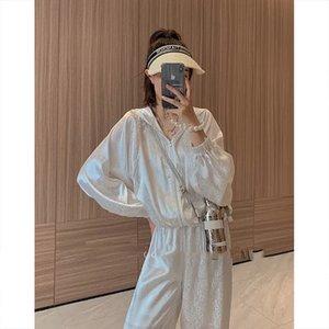 Zhang Jingyi 2021 New Suit Female Letter Fashion Suit Loose Top High Waist Wide Leg Pants Thin Pants
