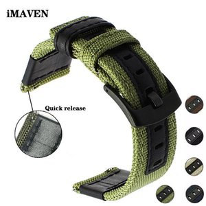 Canvas Nylon + Leather Watch Band For Jeep 20mm 22mm 24mm Men Strap Quick Release Wrist Belt Bands