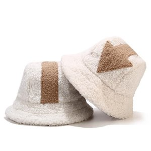 Winter Warm Bucket Hat Fluffy Plush Thick Fisherman Caps Fashion Arrow Print Soft Autumn Sun Hat Female Basin Chapeau 2020 White