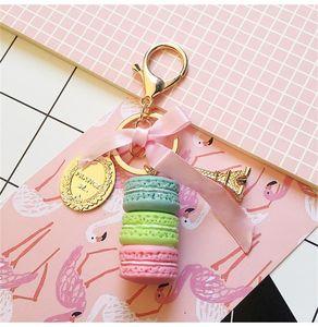 New Macaron Cake Key Chain Fashion Cute Keychain Bag Charm Car Key Ring Wedding Party gift Jewelry For Women Men 1142 Q2