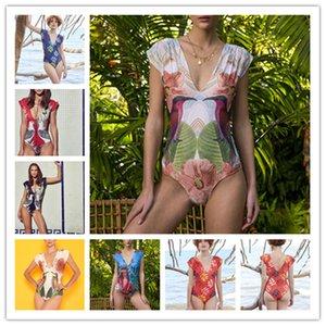 Uma peça de maiô Mulheres V-Neck Swimwear Imprimir Praia Desgaste Feminino Monokini Sexy Floral Beachwear Plus Tamanho Banheira Terno 1129 Z2