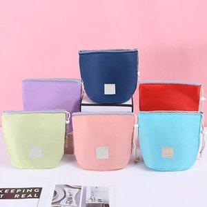 Korean Barrel Shaped Cosmetic Makeup Bags Handbag Elegant Nylon Drum Wash Bag Large Capacity Make Up Organizer Women Storage Pouch Bags INS