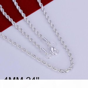 Fine 925 Sterling Silver Necklace,Fashion Men Women Necklace XMAS New Style 24INCH Cross Rope 4MM Trendy Chain Necklace Link Italy Hot AN67